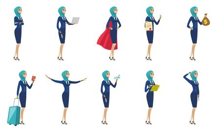 Jonge moslimstewardessreeks. Stewardess staat met gekruiste armen, werkt op een laptop, toont diploma, paspoort, groeten. Reeks vector vlakke die ontwerpillustraties op witte achtergrond worden geïsoleerd.