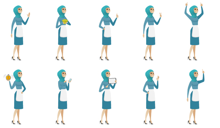 Young muslim cleaner set. Cleaner giving thumb up, holding money, alarm clock, cell phone, tablet computer, pointing finger up. Set of vector flat design illustrations isolated on white background.