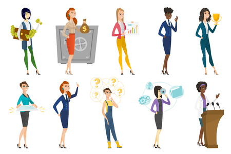 Business woman, stewardess, doctor, farmer set. Doctor giving speech from the rostrum, holding trophy, stewardess showing ok sign. Set of vector flat design illustrations isolated on white background.