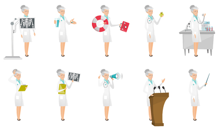 radiograph: Senior caucasian doctor set. Paramedic running with lifebuoy, nutritionist holding apple, doctor with a stethoscope, radiograph. Set of vector flat design illustrations isolated on white background. Illustration