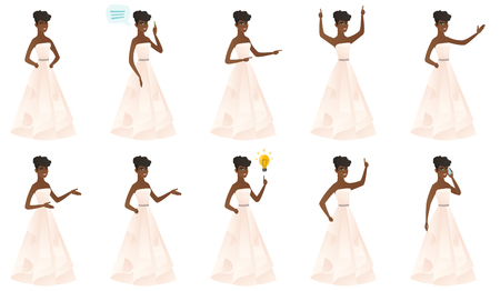 black family: African bride in a white dress pointing to the side. Young bride pointing her finger to the side. Bride pointing to the right side. Set of vector flat design illustrations isolated on white background