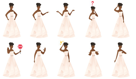 Confused african bride with spread arms. Full length of young confused bride. Confused bride in a white dress shrugging shoulders. Set of vector flat design illustrations isolated on white background. Illustration