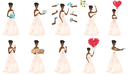 Young african-american bride tossing a bouquet of flowers. Bride in a long white throwing a bouquet of flowers at the wedding. Set of vector flat design illustrations isolated on white background. Illustration