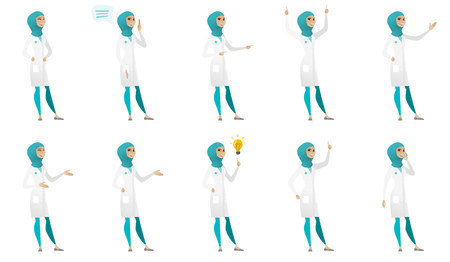 Young muslim doctor set. Doctor laughing, giving a speech, pointing to the side, standing with raised arms up, gesticulating. Set of vector flat design illustrations isolated on white background. Ilustração