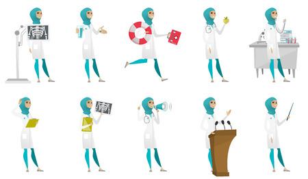 Young muslim doctor set. Paramedic running with lifebuoy, nutritionist holding apple, doctor with a stethoscope, radiograph. Set of vector flat design illustrations isolated on white background.