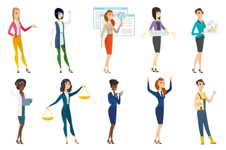 Business woman, stewardess, doctor, farmer set. Business woman pointing at financial chart, holding legal documents, gesturing. Set of vector flat design illustrations isolated on white background.