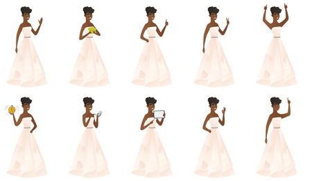 African fiancee in white dress pointing to the side. Fiancee pointing her finger to the side. Fiancee pointing to the right side. Set of vector flat design illustrations isolated on white background.