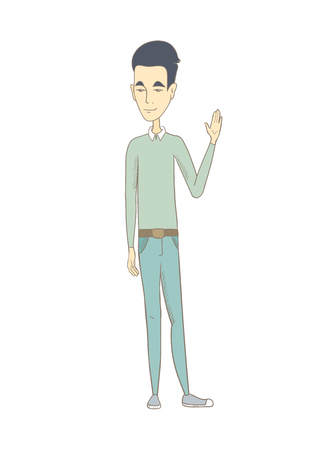 Asian hippie man waving his hand. Full length of young man waving hand. Man making greeting gesture - waving hand. Vector sketch cartoon illustration isolated on white background.