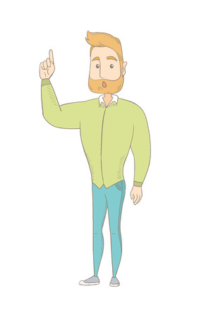 Caucasian hippie man with open mouth pointing finger up. Full length of young hipster man with a beard came up with creative idea. Vector sketch cartoon illustration isolated on white background.