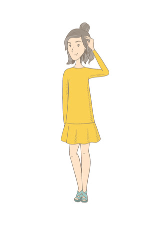 Caucasian hippie woman scratching head. Full length of thoughtful woman scratching head. Young puzzled woman scratching head. Vector sketch cartoon illustration isolated on white background. Banco de Imagens - 83094122