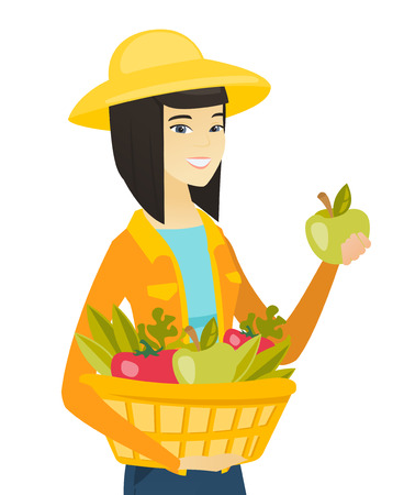 Young asian farmer holding basket with fresh healthy harvest of vegetables and fruits. Farmer harvesting harvest of vegetables and fruits. Vector flat design illustration isolated on white background.