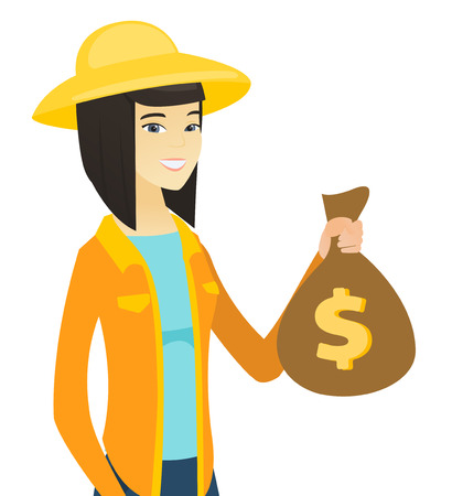 Asian female farmer showing money bag with dollar sign. Young cheerful farmer holding money bag. Vector flat design illustration isolated on white background.