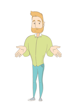 Confused caucasian hippie man shrugging shoulders. Young doubtful hipster man with a beard gesturing hands and shrugging shoulders. Vector sketch cartoon illustration isolated on white background.