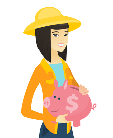 Asian farmer holding a piggy bank with dollar sign. Young smiling farmer with a piggy bank. Vector flat design illustration isolated on white background.