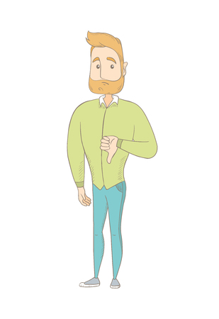 Disappointed caucasian hippie man with thumb down. Young hipster man with a beard showing thumb down. Upset man with thumb down. Vector sketch cartoon illustration isolated on white background.