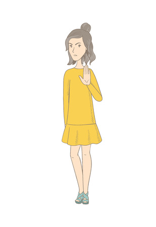 Caucasian hippie woman showing palm hand. Full length of young woman showing palm hand. Serious woman making stop gesture by palm. Vector sketch cartoon illustration isolated on white background.