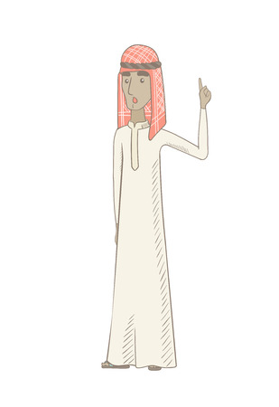 Muslim hippie man with open mouth pointing finger up. Full length of young man came up with creative idea. Vector sketch cartoon illustration isolated on white background. Ilustração