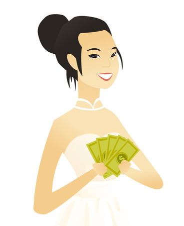 Asian fiancee in white dress holding money. Excited young fiancee standing with money in hands. Vector flat design illustration isolated on white background.