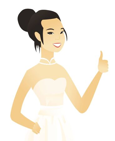 Young asian fiancee in white dress giving thumb up. Smiling fiancee with thumb up. Cheerful fiancee showing thumb up. Vector flat design illustration isolated on white background. Illustration