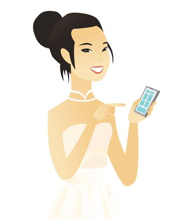 telephone cartoon: Asian fiancee holding a mobile phone and pointing at it. Young fiancee with a mobile phone. Fiancee using a mobile phone. Vector flat design illustration isolated on white background. Illustration