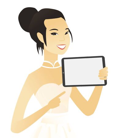 Asian fiancee holding a tablet computer. Young fiancee pointing at the tablet computer. Fiancee with a tablet computer. Vector flat design illustration isolated on white background. Illustration