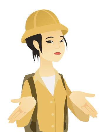 Confused asian traveler shrugging her shoulders. Young doubtful traveler gesticulating hands and shrugging her shoulders. Vector flat design illustration isolated on white background.