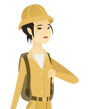 Disappointed asian traveler with thumb down. Female traveler showing thumb down. Young traveler with her thumb down. Vector flat design illustration isolated on white background.