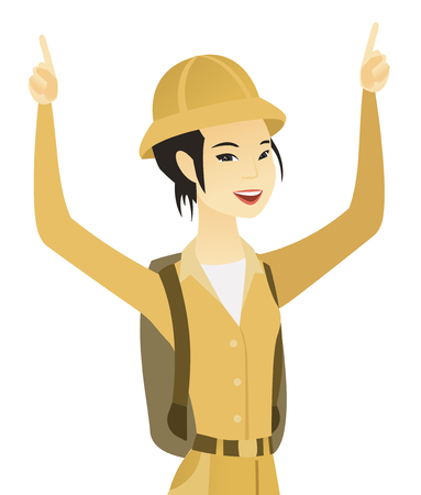 Young asian traveler standing with raised arms up. Illustration