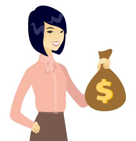 Young asian business woman holding a money bag. Illustration