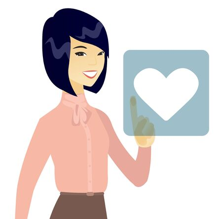 Business woman pressing web button with heart.