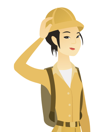 Young asian traveler scratching head. Vector illustration. Illustration
