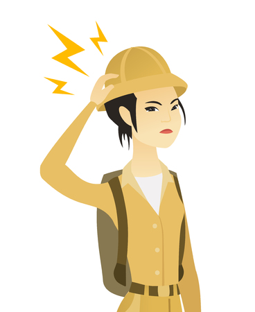 Young asian traveler with lightning over her head. Vector illustration.