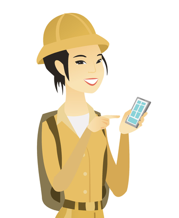 Young asian traveler holding a mobile phone. Vector illustration.