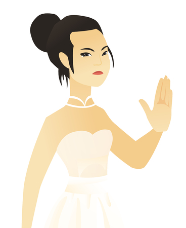 Asian fiancee in a white dress showing palm hand. Young fiancee showing palm hand. Fiancee making stop gesture by her palm. Vector flat design illustration isolated on white background.