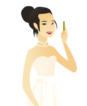 Young asian smiling fiancee with pen. Vector illustration. Illustration