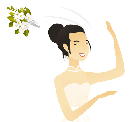 Young asian bride tossing a bouquet of flowers. Vector illustration.