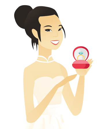 Young asian bride holding a wedding ring in a box. Vector illustration.