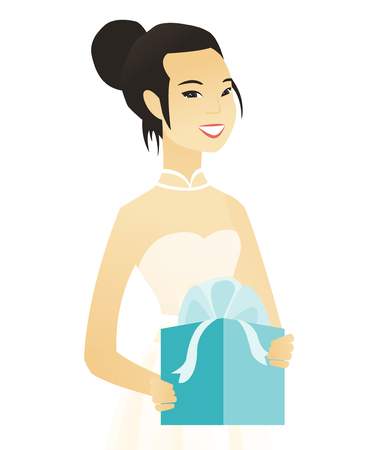 Woman in a white bridal dress holding a gift box. Vector illustration. Illustration