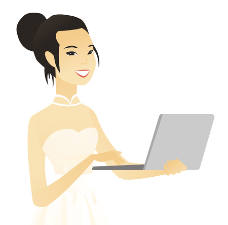 Young asian bride in a white dress using a laptop. Vector illustration. Illustration