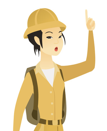 Asian traveler with open mouth pointing finger up. Vector illustration.