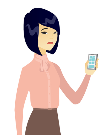 nespokojen: Disappointed asian business woman with cellphone. Vector illustration.