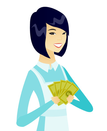 Asian smiling cleaner in uniform holding money. Vector flat design illustration isolated on white background.