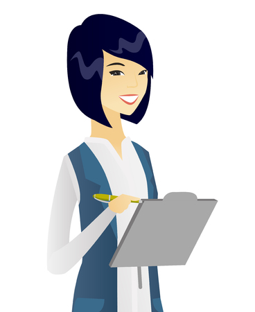 Happy asian business woman holding clipboard and taking some notes. Vector flat design illustration isolated on white background. Çizim