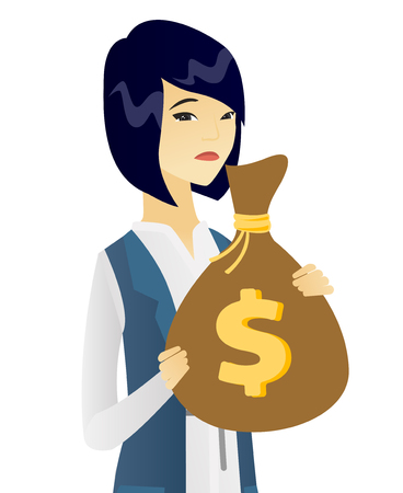 Upset asian business woman holding bag with taxes. Concept of tax time and taxpayer. Vector flat design illustration isolated on white background.