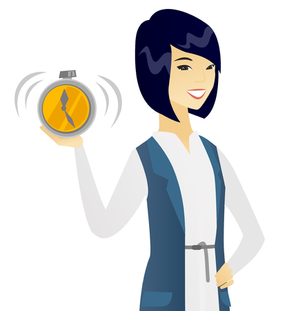 Asian business woman showing ringing alarm clock. Vector flat design illustration isolated on white background.