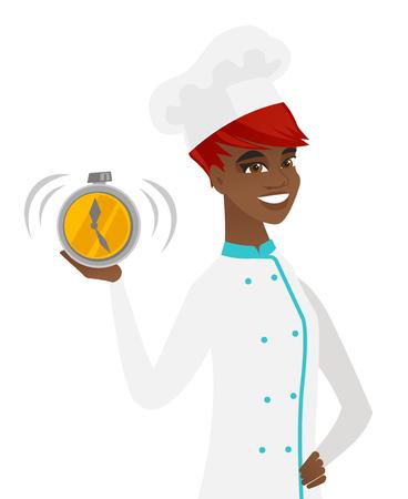 アフリカ系アメリカ人シェフで制服を示す鳴る目覚まし時計。目覚まし時計を保持している若い幸せなシェフの料理。ベクトル フラットなデザイン