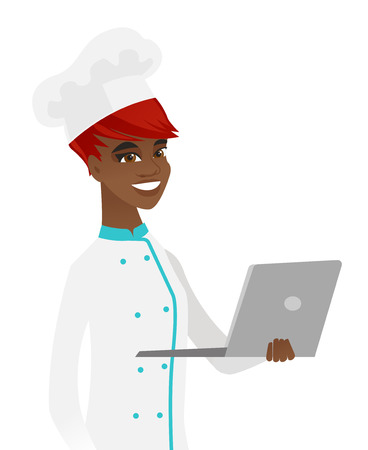 African-american chef cook in uniform using a laptop. Young chef cook working on a laptop. Cheerful chef cook holding a laptop. Vector flat design illustration isolated on white background. Illusztráció