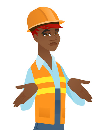 Confused african-american builder in hard hat shrugging shoulders. Young doubtful builder gesticulating hands and shrugging shoulders. Vector flat design illustration isolated on white background.