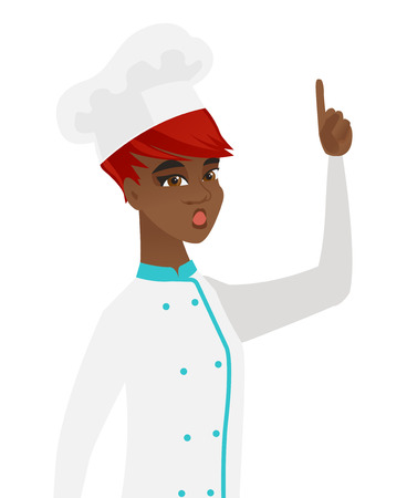 came: African-american chef in uniform with open mouth pointing finger up. Young chef with open mouth came up with successful idea. Vector flat design illustration isolated on white background. Illustration