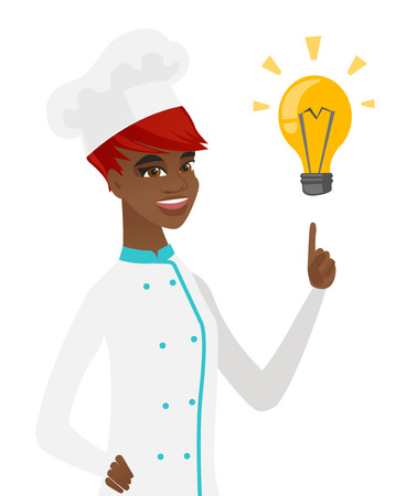 came: Young african-american chef pointing at bright idea light bulb. Chef cook having a idea. Chef cook came up with an idea for a recipe. Vector flat design illustration isolated on white background. Illustration